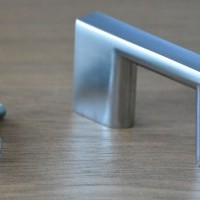 "Modern Metal ""D"" Handle in Satin Nickel Finish"